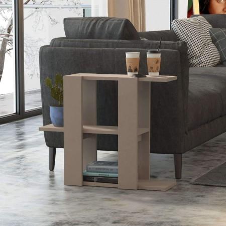 Kệ gỗ trang trí đặt cạnh sofa